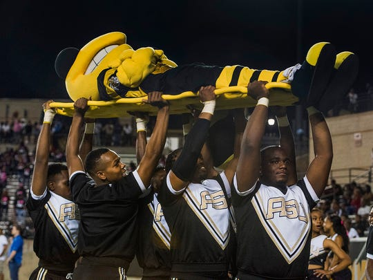 The Alabama State mascot is carried off the field by cheerleaders as Alcorn State gives ASU their fifth loss of the season at Hornet Stadium on the ASU campus in Montgomery, Ala. on Thursday October 5, 2017.