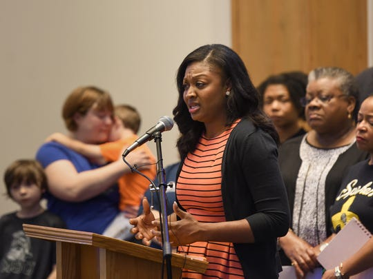 District 3 Ingham County Commissioner Sarah Anthony speaks at Union Missionary Baptist Church Thursday, June 21, 2018, where faith leaders, local officials and activists gathered to protest border policy under President Donald Trump.