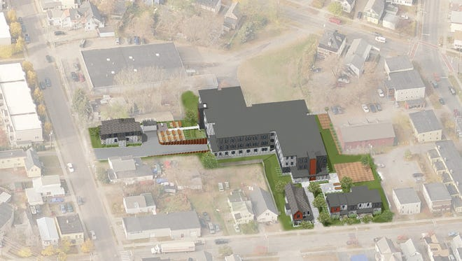 An illustration of the Bright Street Cooperative housing development in the Old North End.