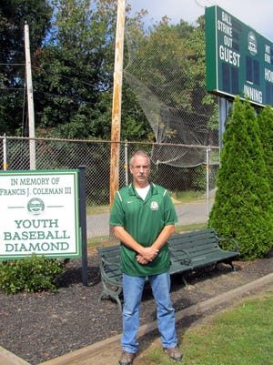 Chuck Mandeville at Clinton's Little League Field at Fuller Field.