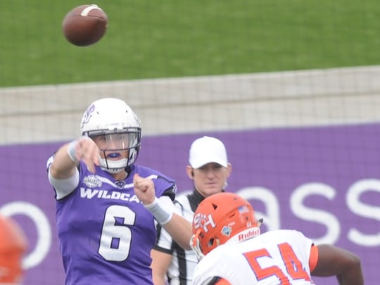 ACU quarterback Luke Anthony (6) throws the ball before