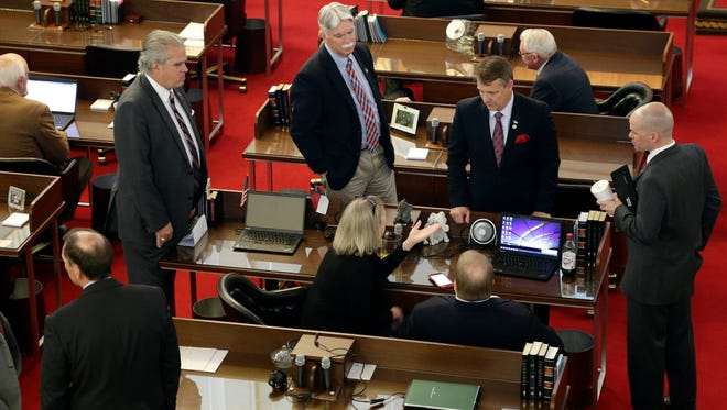 North Carolina lawmakers gather on the House floor for a special session Wednesday to consider stopping a new Charlotte ordinance set to take effect April 1 that gives protections to transgender people to use the restroom of their gender identity.
