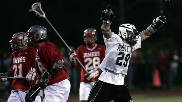 John Ranagan of Yorktown celebrates his goal against