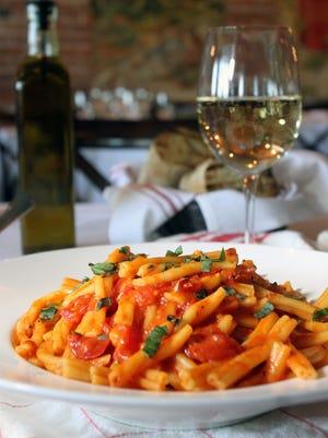 A pasta arrabbiata dish from Anjelica's Restaurant in Sea Bright.