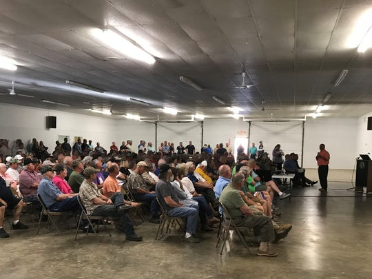 About 600 people were at the Paris Fairgrounds on Thursday to hear discussion about the Asian carp problem in Kentucky Lake.