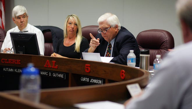 Councilman Marc Guthrie, D-at large, expresses disapproval of council's decision to move Newark police dispatching from the police station to the Licking County 911 Center.