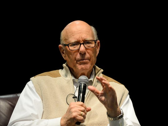 Senator Pat Roberts, Chairman of the U.S. Senate Committee on Agriculture, Nutrition and Forestry, address the Montana Ag Summit during a panel discussion with Sonny Perdue, Secretary of the United States Department of Agriculture, and Senator Steve Daines on Thursday in the Four Seasons Arena.