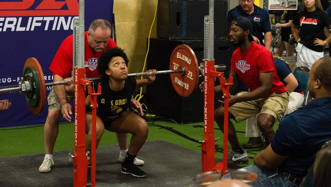 Gaylia Ray is the first contestant to successfully complete all three attempts as she squats 220.5 pounds on Saturday at the USA Powerlifting Mississippi Bench Press and Powerlifting State Championships in Hattiesburg.