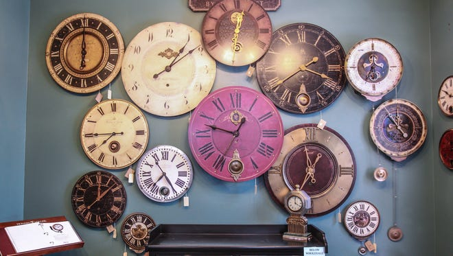 Clocks from a former Zionsville clock shop.  (Michelle Pemberton/The Star)