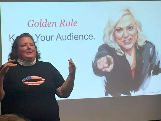 Shannon Garrett, a co-founder and chairman of Vote Run Lead, has trained 7,000 women candidates since the November 2016 elections. She is talking during a training session for Vote Run Lead on May 6, 2017 in Ypsilanti.