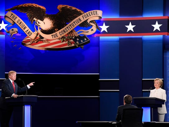Hillary Clinton and Donald Trump take part in the third