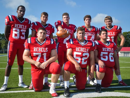 Hayden Cantrelle (2) will lead the Teurlings Rebels' offense from the quarterback position this season, while Brett Denson (71), Brendan Meagher (52) and Skye Cisneros (51) protect and Holland Griffin (83) and Jansen Lormand (14) give him options on the outside.