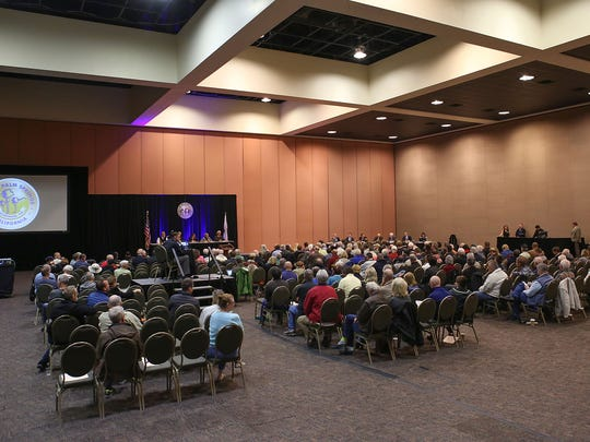 A large crowd attends a special study session by the Palm Springs City Council at the convention center, February 27, 2017. The meeting was called in the wake of recent bribery, perjury and conflicts of interests charges filed against former Mayor Steve Pougnet and developers John Wessman and Richard Meaney.