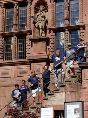 Left to right beginning from the bottom, Dan and Kathy Lorentz of Shelby Township, Bill and Nancy Schultz of Sterling Heights, Mike Vercammen of Bellingham, Washington--a Detroit transplant and Jim and Lori Bell of Macomb Township. They were on a Rhine River Cruise in May 2017 and one of the stops was the Heidelberg Castle in Heidelberg, Germany. They are on the steps in the courtyard of the 16th-century Castle.