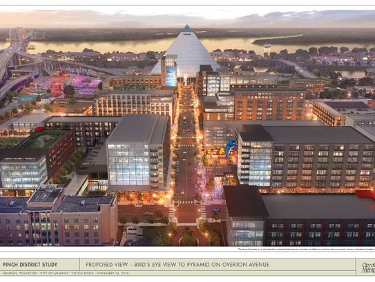A concept plan for Pinch district redevelopment in Downtown Memphis was filed last year with zoning officials.