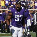 Minnesota Vikings defensive end Everson Griffen (97) reacts to a play against the Detroit Lions in the second half of the Sept. 20 game in Minneapolis. Minnesota won 26-16.