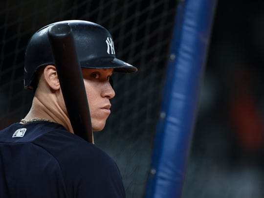 New York Yankees' Aaron Judge waits to hit before Game 6 of the baseball's American League Championship Series against the Houston Astros Friday, Oct. 20, 2017, in Houston.