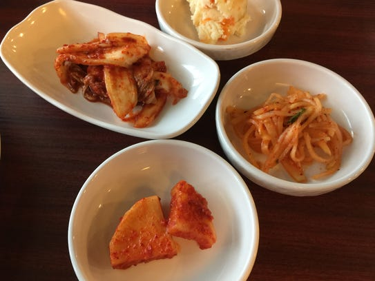 Banchan side dishes accompany courses at the new Tofu