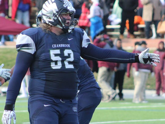 Lineman Danny Files (52) celebrates after Cranbrook