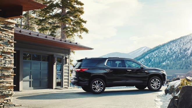 The 2018 Traverse High Country trim features premium content and technology, including a unique interior trim featuring Loft Brown leather appointments with suede accents, 20-in polished wheels, High Country badging, D-Optic headlamps and standard twin-clutch AWD.