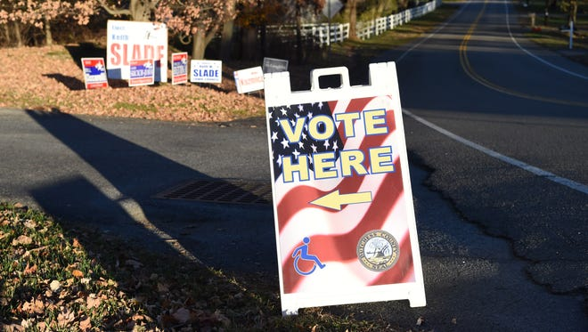 A voting sign in Wappingers Falls during the November election. The village is one of five in Dutchess to hold elections March 21, 2017.