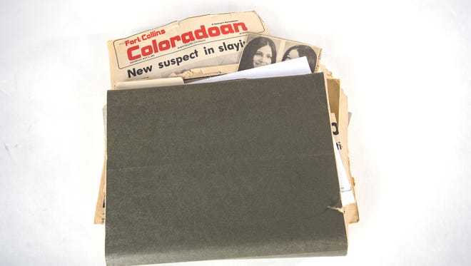 A folder stuffed with decades of Coloradoan clippings related to the 1978 murders of Rosemary Mata and Julia Mata DeLosSantos.