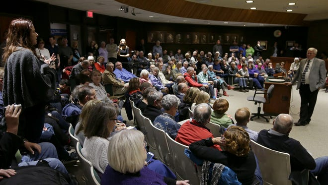 U.S. Rep. Glenn Grothman listens to a question during a town hall on April 30 in Neenah.