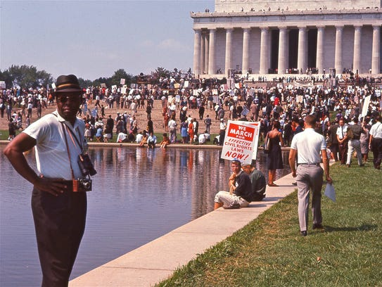 A crowd seen gathering at the Lincoln Memorial for