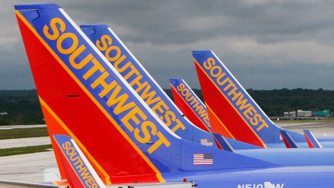 Southwest Airlines jets at Baltimore Washington International Airport on May 16, 2008.