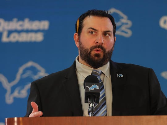 New Detroit Lions head coach Matt Patricia answers questions in February. Patricia won his final four games against the Jets as the Patriots' defensive coordinator.