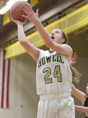 Howell's Leah Weslock shoots for two in the third quarter of the home game against Hartland.