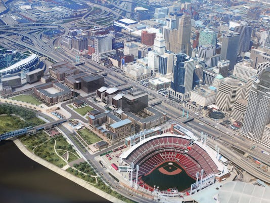 August 25, 2015. The Banks, rendering, parking, Cincinnati, Liz Dufour