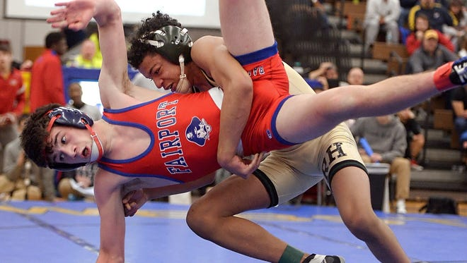 Rush-Henrietta's Eli Sims, right, and Fairport's Jacob Ruggeri should be in their team lineups for the 4th Annual Take Down Cancer Duals.