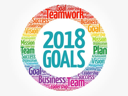 2018 Goals word cloud collage