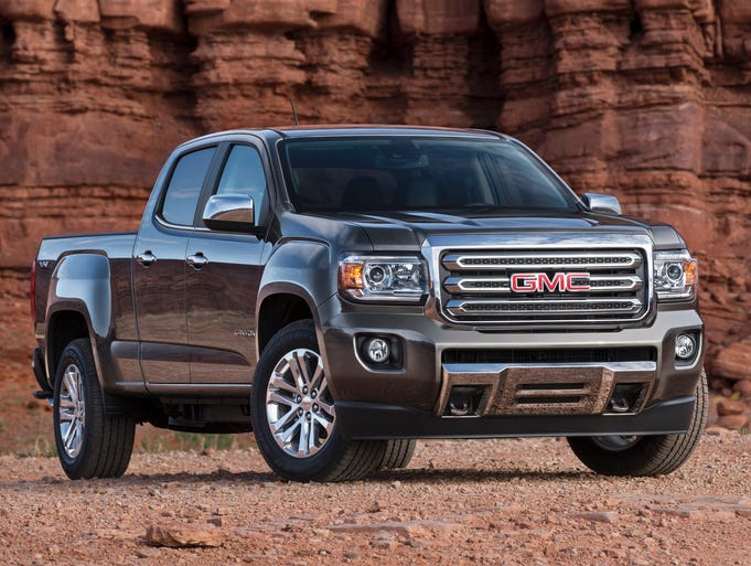 The 2015 GMC Canyon midsize pickup (crew-cab version show here) that is being unveiled at the Detroit Auto Show.