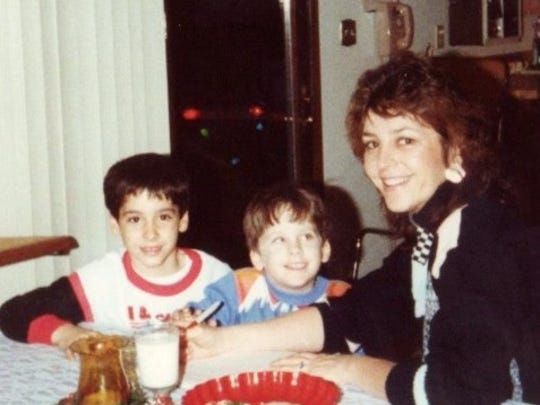 Brenda Stewart (then Kreager) sits with her sons Jeremy Kreager, middle, and Richard Kreager in the late 1980s in Newark where she moved after divorcing.