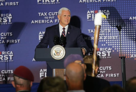 Vice President of the United States Mike Pence speaks at Tax Cuts to build The US First town corridor in Indianapolis.