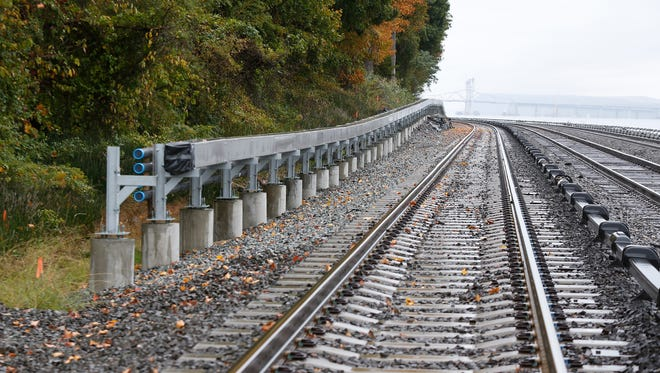 Raised cable conduit along Metro-North Hudson Line tracks in Philipsburg Manor on Thursday, October 27, 2016. Superstorm Sandy floodes the railroad tracks damaging the track signal and communications lines.