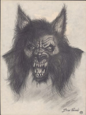 Brian Rosinski created this depiction of the Dogman of the northwestern Lower Peninsula.