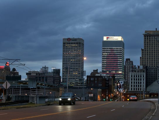 The First Tennessee building in downtown Memphis illuminates