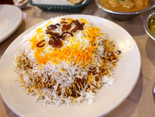 Goat biryani at Himalaya Restaurant in Houston.