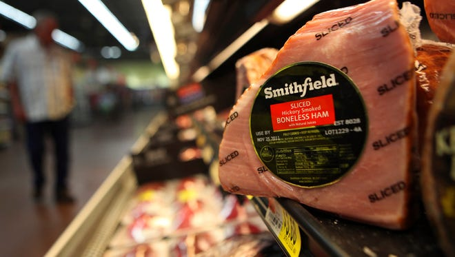 A Smithfield ham at a grocery store in Richardson, Texas.
