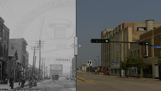 A then-and-now look at the intersection of Walnut and Adams streets in downtown Green Bay.