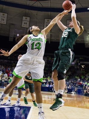 Notre Dame's Taya Reimer , left, defends Becca Mills during a game in 2013. Reimer tweeted her intent to transfer to Michigan State on Sunday.