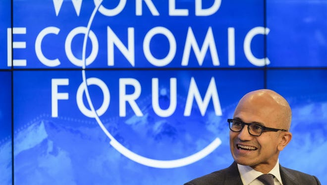 Microsoft CEO Satya Nadella, shown here at the recent Davos World Economic Forum, is in the midst of leading the storied tech company through a major turnaround.