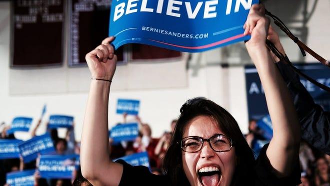 Supporters of Bernie Sanders in Concord, N.H., on Feb. 9, 2016.