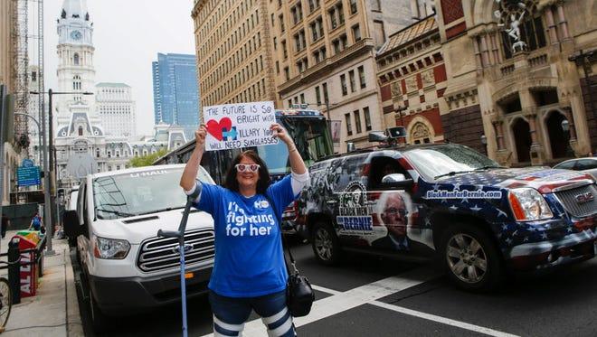 A Hillary Clinton supporter in Philadelphia in April 2016.