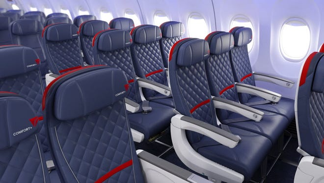Delta 737 ComfortPlus For fliers who can't afford business class, many airlines offer a premium economy section with extra legroom, wider seats and other amenities and perks.
