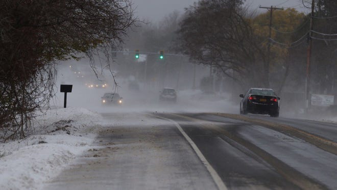 Blowing snow creates problems on area roads in this file photo.