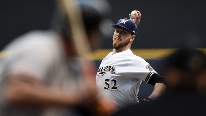 Jimmy Nelson is the anchor in the Brewers' starting rotation right now.